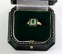 Emerald and green enamel Art Deco style plaque ring 14ct gold