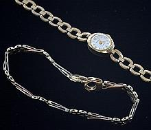 Ladies gold watch with chain strap and a fancy link bracelet both 9ct