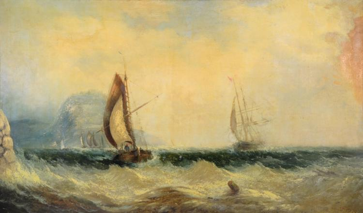 David James (British 1853-1904), Seascape with Ships, signed and dated '79, oil on canvas, 126cm x 175cm