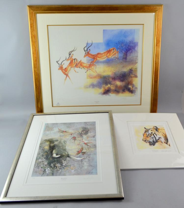 Sue Stolberger 'Leaping Impala' print 15/500, 47 x