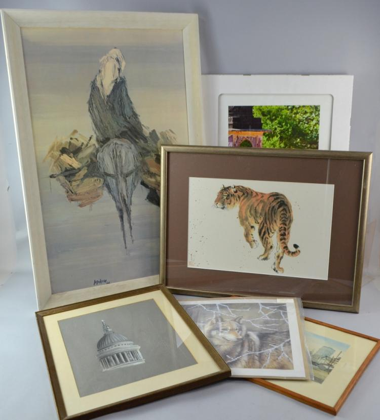 Japanese print of a Tiger, 28 x 44 and five other