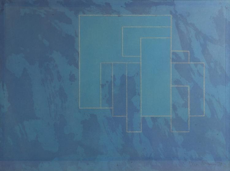 Abstract limited edition print, titled 'b', signed
