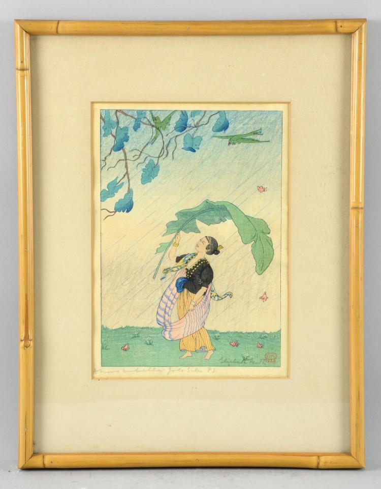 Elizabeth Keith (1887-1956) A Moro Umbrella, Jolo,