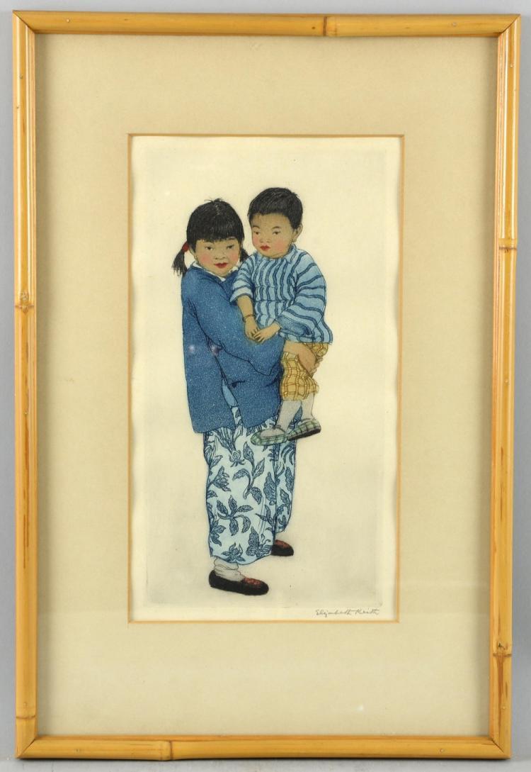 Elizabeth Keith (1887-1956) Chinese Children, Etch