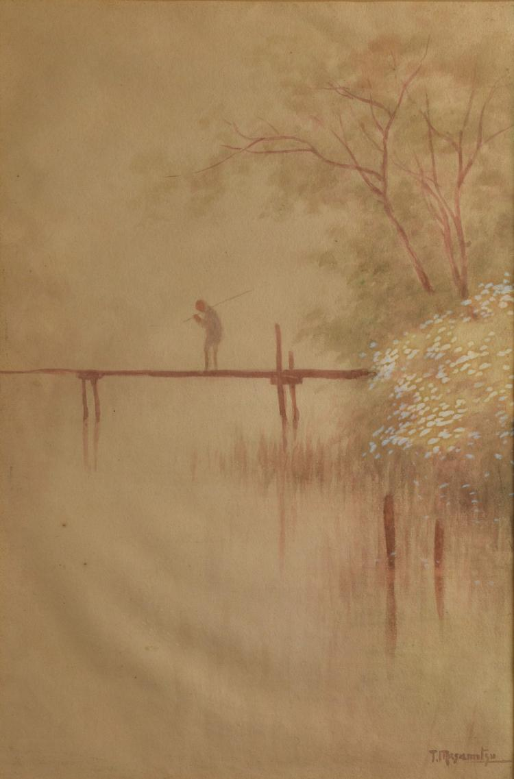 T. Masamitsu (Japanese). Watercolour depicting a m