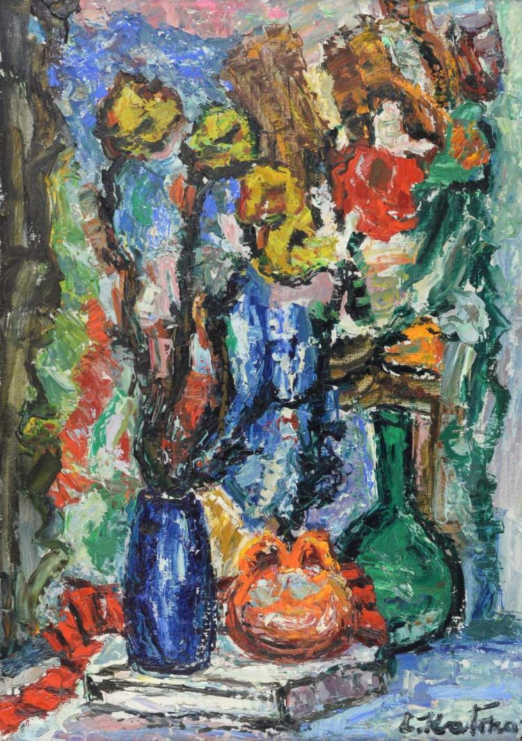 L Katinov Contemporary flowers, oil on board, sign