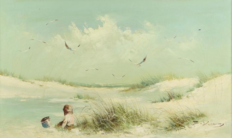 20th Century beach scene, signed indistinctly, oil