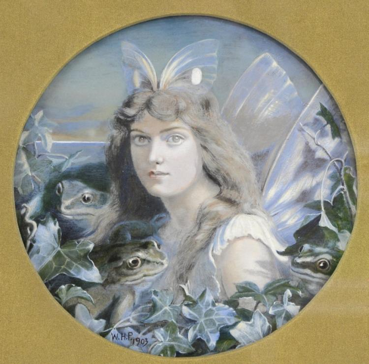 W.H.P, Fairy with frogs and ivy, circular gouache