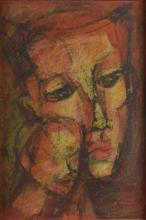 Abstract portrait, mother and child, mixed media o