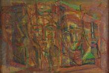 Abstract , Multiple Heads, mixed media on board. s