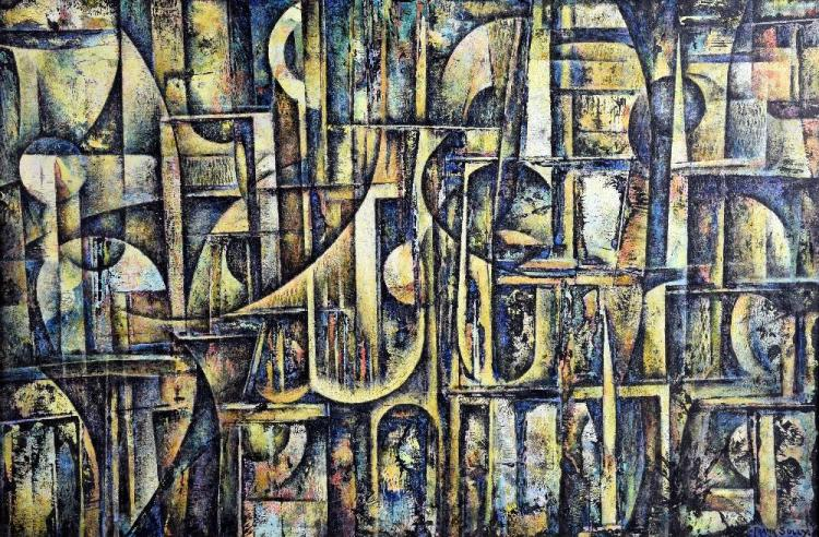 Frank E. Sully (1898-1992) abstract, oil on board.
