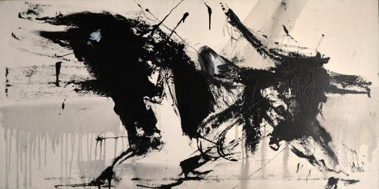 20th century, 'Bull', mixed media on canvas, indis