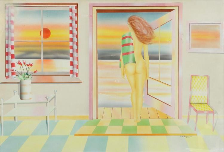 P M Schlesimger mixed media of nude in a door way