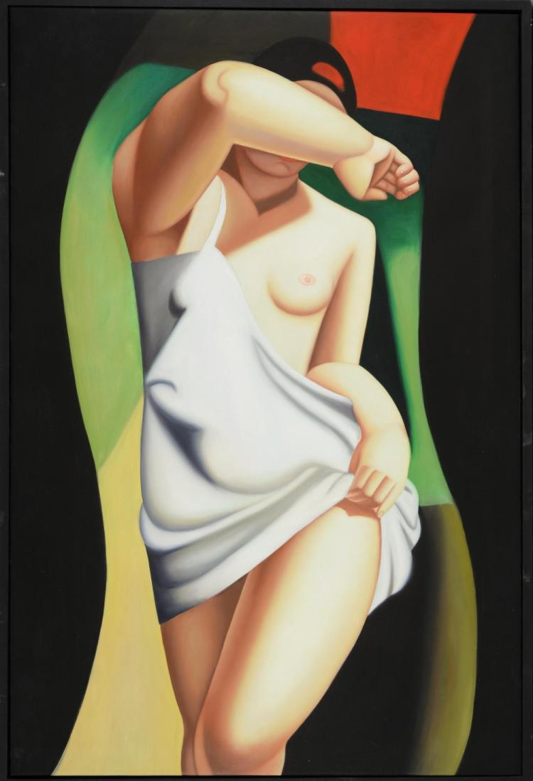Oil on canvas depicting a semi clad lady partly dr