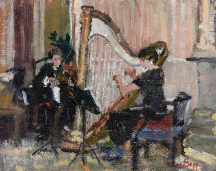 Prue Sapp (British, 1928-2013). Musicians, oil on