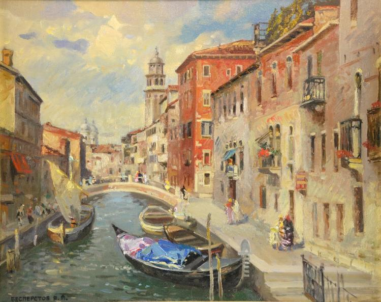20th century, Russian School, Venetian canal scene