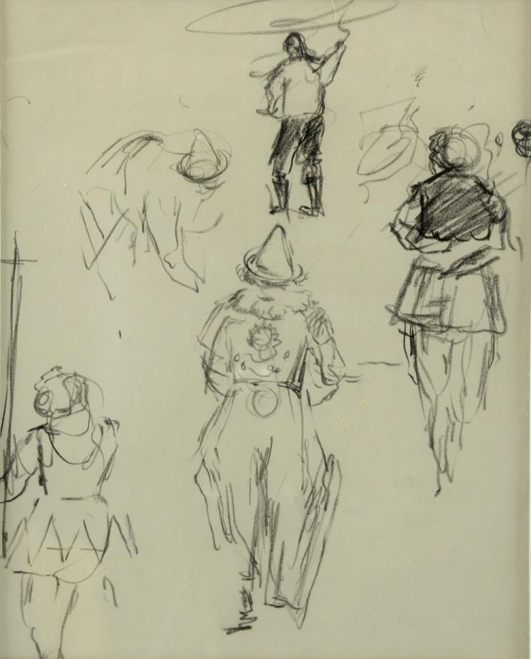 20th century, English School, clown and other circ