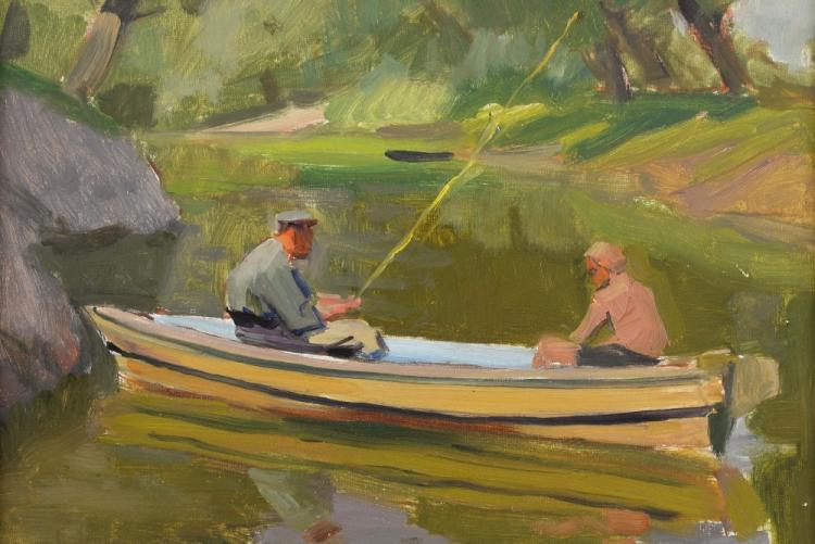 E. N. Levin, figures fishing from a boat on a rive