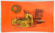 20th century study of Europa and the bull on a red