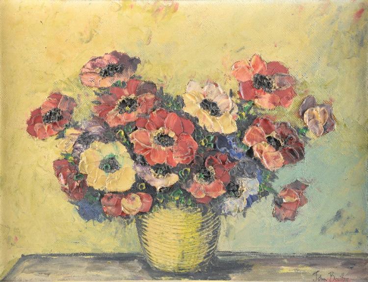 John Bailey still life of flowers signed oil on bo