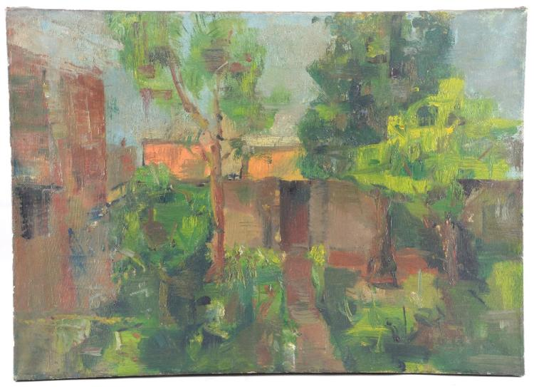 20th century landscape unsigned oil on canvas, 50c
