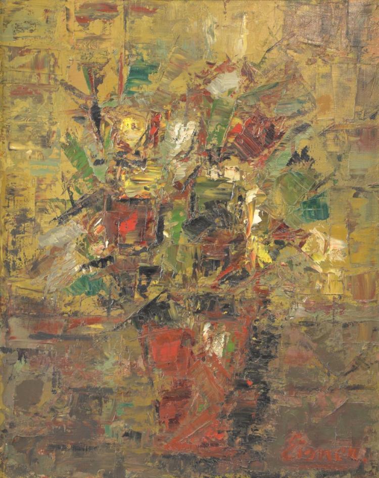 Eisnen still life flowers oil on canvas signature