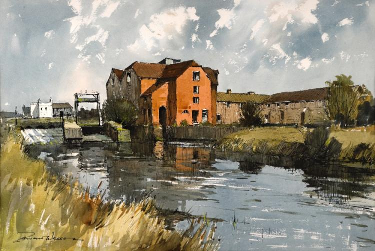 § Edward Wesson (British, 1910-1983), watermill, s