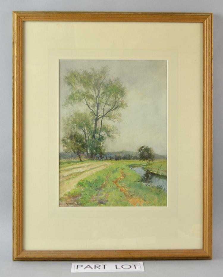 W T Winter Landscape watercolour signed , 29 x 20