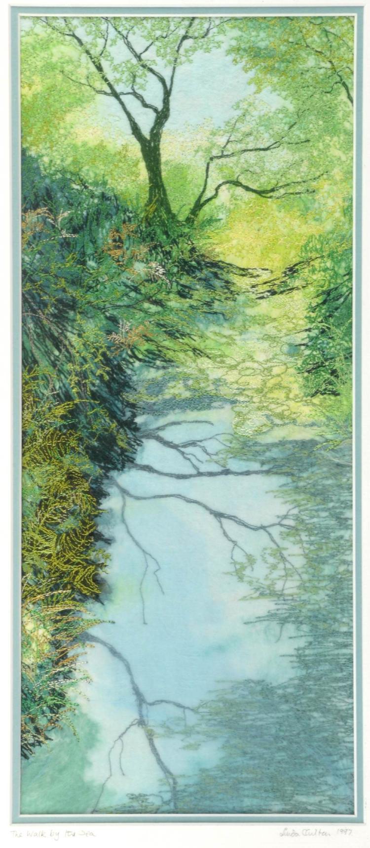 Linda Carlton Walk By The Sea, embroidery, 38 x 36