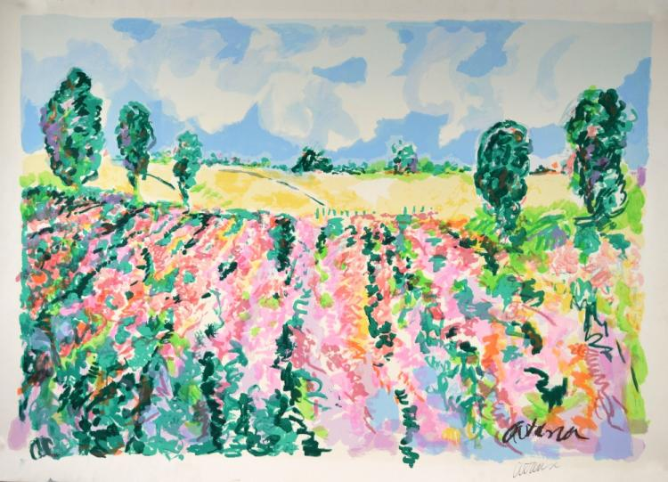 20th century lithograph of flowers and Cornfield,
