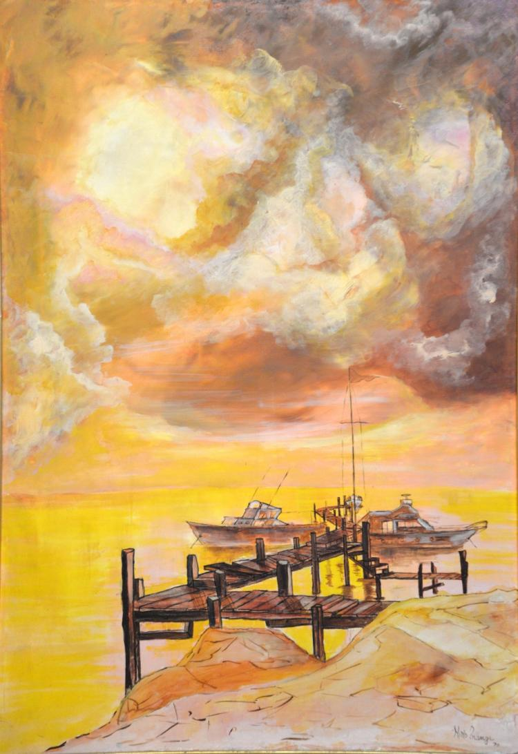 20th century seascape with Two boats, Nimo Prango,