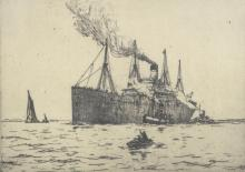 Early 20th Century dry point etching of a steamer
