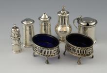 George VI silver cruet set, comprising salt, peppe