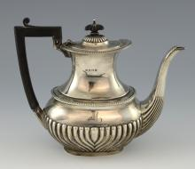 Edward VII silver coffee pot with half-gadrooned b