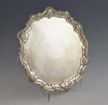 George II silver salver with shell and scroll rim