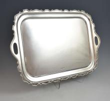 George V silver twin-handled tray with serpentine