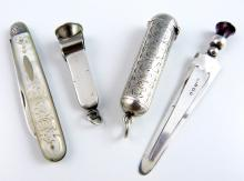 Edward VII silver cheroot holder case with engrave