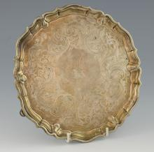 George II silver salver with serpentine border and