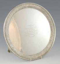 Victorian silver salver with deep gadrooned border