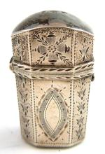 George III silver scent bottle holder and cover wi