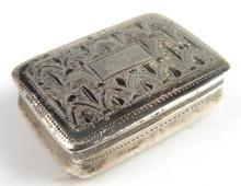 George III silver vinaigrette with gilt interior a