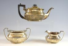 Victorian silver three-piece tea service, comprisi