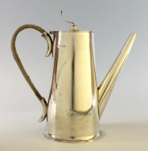 George VI silver coffee-pot, with plain tapered bo