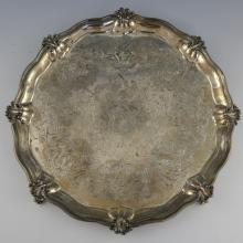 Victorian silver salver with engraved and moulded