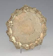 Victorian silver card tray with moulded shell and