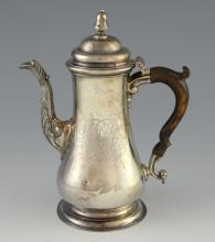 George II silver coffee pot of baluster form with