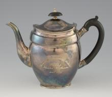 Modern silver oval teapot with ebonised handle and