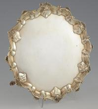 Victorian silver waiter with moulded shell and scr