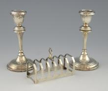 Pair of George VI silver candlesticks with knopped
