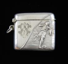Edward VII silver vesta case, decorated with footb